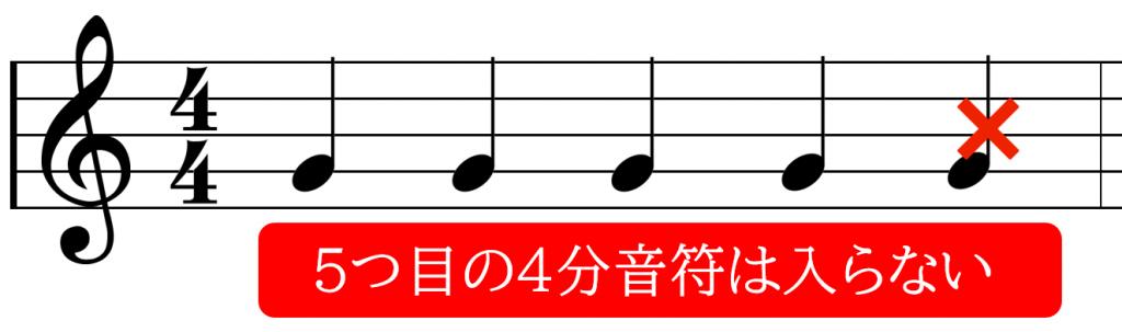 4分の4拍子に5つめの4分音符は入らない