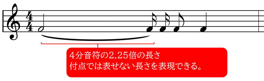 2分音符と16分音符をタイで接続