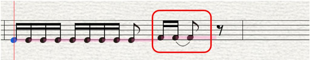 修正後の音符